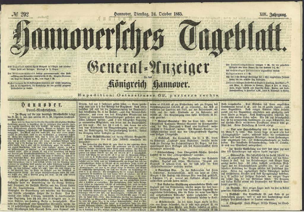 1546px Hannoversches Tageblatt 1865 10 24 XIV Jahrgang No. 292 1024x715 - Romeo & Julius am Freitag, 22.01.2021: News, News, News