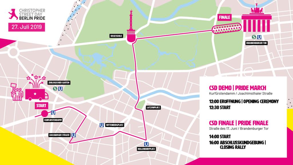 CSD Berlin 2019 Demoroute n 1024x576 - Samstag, 26.7.: 50 Jahre Stonewall - 40 Jahre CSD - Every riot startet mit deiner voice